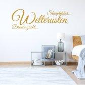Muursticker Welterusten Slaaplekker Droomzacht -  Goud -  120 x 42 cm  - Muursticker4Sale