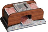 relaxdays Kaartschudmachine 2 decks - hout look - schudmachine voor speelkaarten