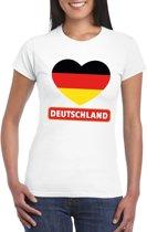 Duitsland hart vlag t-shirt wit dames S