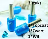 3 flesjes SeaCoral One Step No Wipe Gellak, Gel Nagellak, GelPolish, zónder kleeflaag, UV en LED, Topcoat, Zwart en Wit