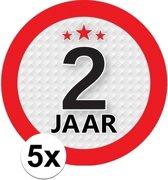 5x 2 Jaar leeftijd stickers rond 9 cm - 2 jaar verjaardag/jubileum versiering