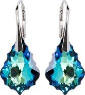 Zilveren Oorbellen met Swarovski Elements Baroque Crystal Bermuda Blue