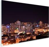 Nachtfoto van de verlichte straten van Porto Alegre in Brazilië Plexiglas 180x120 cm - Foto print op Glas (Plexiglas wanddecoratie) XXL / Groot formaat!