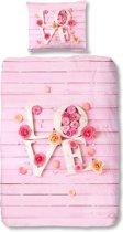 Good Morning 5354-P Love met steigerplanken - kinderdekbedovertrek - eenpersoons - 140x200/220 cm  - katoen - roze