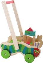 Houten blokkenkar - Rupsje Nooitgenoeg - 22 kleurrijke houten blokken - Speelgoed vanaf 1 jaar