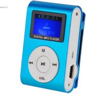 mini clip MP3 speler met display blauw en in-ear koptelefoon