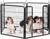 relaxdays puppyren XXL - puppykennel - buiten en binnenshuis - konijnenren - zwart metaal