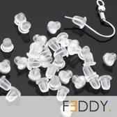 10 rubberen oorbel achterkantjes / oorstoppers / oorslotjes / vlindertjes