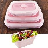 Schaalbaar opvouwbare Food-grade siliconen geïsoleerd 3 vakken Container Bento Box Kit(Pink)