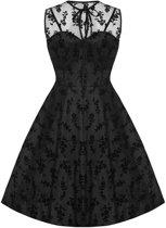 Korte taffeta jurk met kanten gebloemde bovenlaag zwart - Vintage 50's Rockabilly - S - Voodoo Vixen