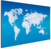 Wereldkaart wolken Aluminium 30x20 cm - klein