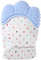 Bijthandschoen Pastel Blauw voor doorkomende baby tandjes | Bijtring Alternatief | speelgoed | kraamcadeau