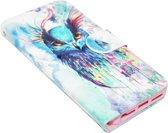 ADEL Kunstleren Book Case Hoesje voor iPhone 5/5S/SE - Vogel met Kleur