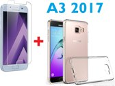 Galaxy A3 (2017) tempered glass / Screen protector  + Ultra Dunne Transparant TPU crystal clear hoesje