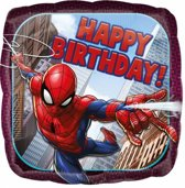 Spiderman Helium Ballon Happy Birthday 45cm leeg