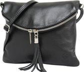 AmbraModa Italiaanse schoudertas crossbody tas dames kleine tas van echt leer NL610 Zwart
