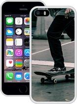 Case Creatives Telefoonhoesje Skateboard - iPhone 5 5s SE  Wit - Handgemaakt