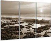 Glas schilderij Zee, Strand   Sepia   120x80cm 3Luik   Foto print op Glas    F006402