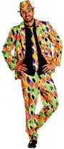Neon Geruit Print Suit - Kostuum Volwassenen - Maat M - 48/50 - Carnavalskleding