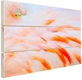 Zachtroze flamingo veren Hout 80x60 cm - Foto print op Hout (Wanddecoratie)