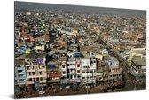 Dichtbevolkte huizen in Oud Delhi Aluminium 30x20 cm - klein - Foto print op Aluminium (metaal wanddecoratie)