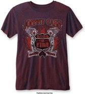 Johnny Cash - Ring Of Fire heren unisex burn out T-shirt two tone rood/blauw - XL