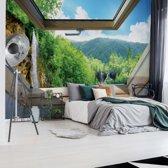 Fotobehang Waterfall Skylight Window View   V4 - 254cm x 184cm   130gr/m2 Vlies