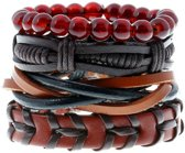 Zwarte leren armbanden set met rood bruine kralen