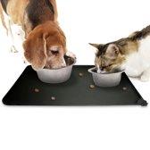 Placemat voor voerbak van hond of kat - zwart siliconen