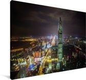 Shenzhen verlicht in de nacht Canvas 30x20 cm - klein - Foto print op Canvas schilderij (Wanddecoratie woonkamer / slaapkamer) / Aziatische steden Canvas Schilderijen