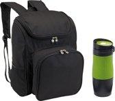 Picknicktas Backpack met thermosbeker groen