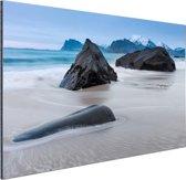 Zandstrand Aluminium 60x40 cm - Foto print op Aluminium (metaal wanddecoratie) / Zee en Strand