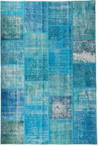 Vintage patchwork vloerkleed turquoise blauw - Afmeting: 300 x 200
