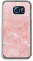 Samsung Galaxy S6 Edge Transparant Hoesje (Soft) - Roze marmer