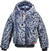 Moodstreet Meisjes Reversible winterjas met capuchon - Donker blauw - Maat 104