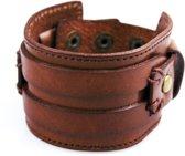 Brede Leren Armband – Twee Riemen – Bruin