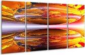 Glasschilderij Abstract | Geel, Oranje, Rood | 160x80cm 4Luik | Foto print op Glas |  F000314