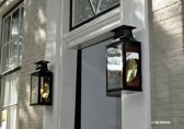 koperen lantaarn DE NOOD® model Binnenhof, in groen en rood gelakt, met messing gepolijste achterspiegel