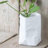 Mandje met leerlook wit   mand wasbaar papier   mandje voor planten en kruiden