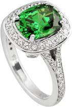 Diamonfire - Zilveren ring met steen Maat 18.0 - Groene rechthoekige steen - Rondom