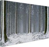 Besneeuwde bomen in de winter Canvas 120x80 cm - Foto print op Canvas schilderij (Wanddecoratie)