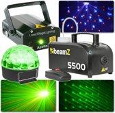 Complete lichtset - BeamZ plug and play lichtset met laser, LED lichteffect en rookmachine voor een geslaagd feest