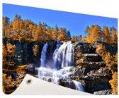 Waterval in Noorwegen Tuinposter 60x40 cm - klein - Tuindoek / Buitencanvas / Schilderijen voor buiten (tuin decoratie)