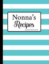 Nonna's Recipes Aqua Stripe Blank Cookbook