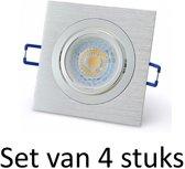 Dimbare 7W GU10 inbouwspot | Zilver vierkant | Set van 4 stuks