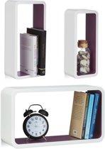 relaxdays wandplank set van 3 - XL boekenplank - zwevende wandboard - belastbare planken Wit-Violet