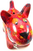 Pomme pidou spaarpot hond Oscar - Uitvoering - Fuchsia met sterren en bloemen