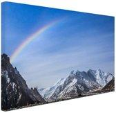 FotoCadeau.nl - Regenboog over Karakoram  Canvas 80x60 cm - Foto print op Canvas schilderij (Wanddecoratie)