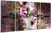 Glasschilderij Orchidee   Paars, Wit   160x80cm 4Luik   Foto print op Glas    F005757