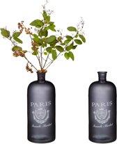 relaxdays 2 x decoratieve fles met opdruk - zwart - vloer vaas – bloemenvaas